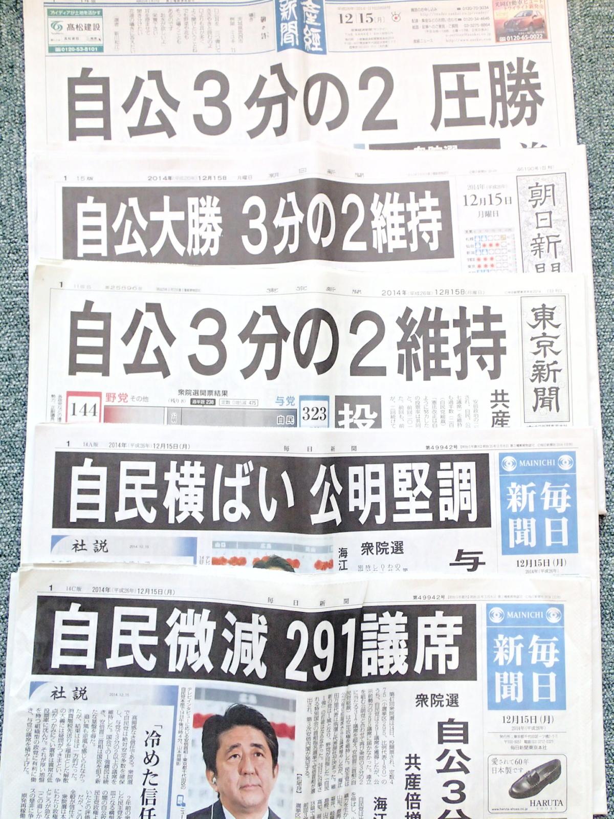 12月15日朝刊各紙
